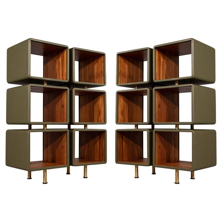 Pair of Modern Leather Clad Bookcases For Sale