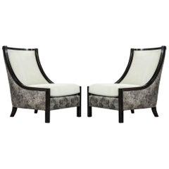 Pair of Modern Leather Lounge Chairs by Carrocel