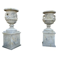 Pair of Modern Limestone Composite Urns with base