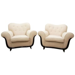 Pair MCM Lounge Chairs by Guglielmo Ulrich, Italian, White Silk/Linen Lelievre