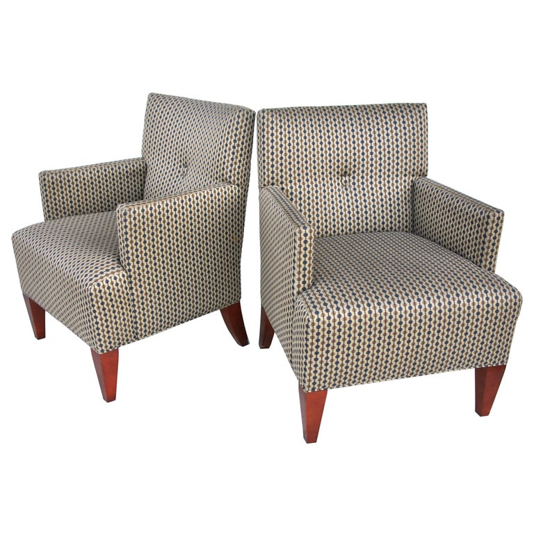 Pair of Modern Lounge Chairs by Hickory Furniture For Sale