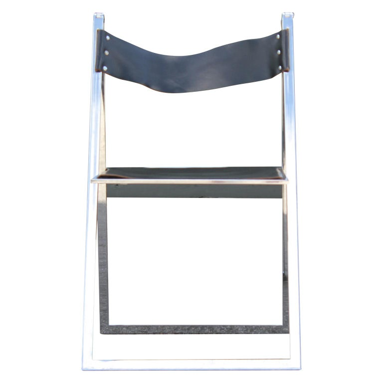 German Pair of Modern Lübke Black Leather and Chrome Folding Dining Chairs For Sale