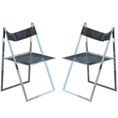 Pair of Modern Lübke Black Leather and Chrome Folding Dining Chairs