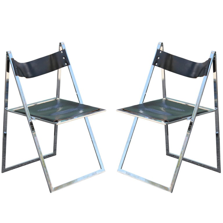 Dinette Chairs For Sale: Pair Of Modern Lübke Black Leather And Chrome Folding