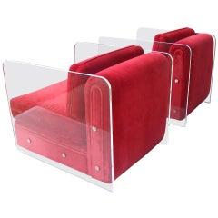 Pair of Modern Lucite Milo Baughman Style Lounge Chairs
