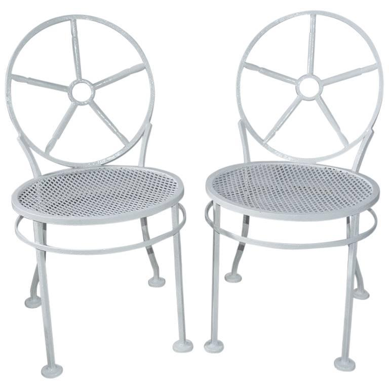 Pair of Modern Metal Porch/Garden Chairs For Sale