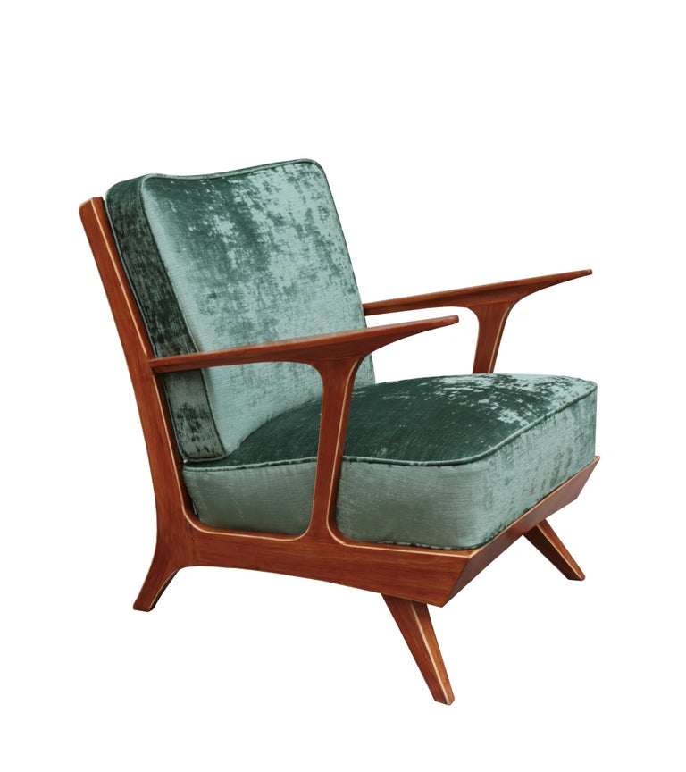 Pair of modern midcentury armchairs. Mahogany with contrast edge detail.