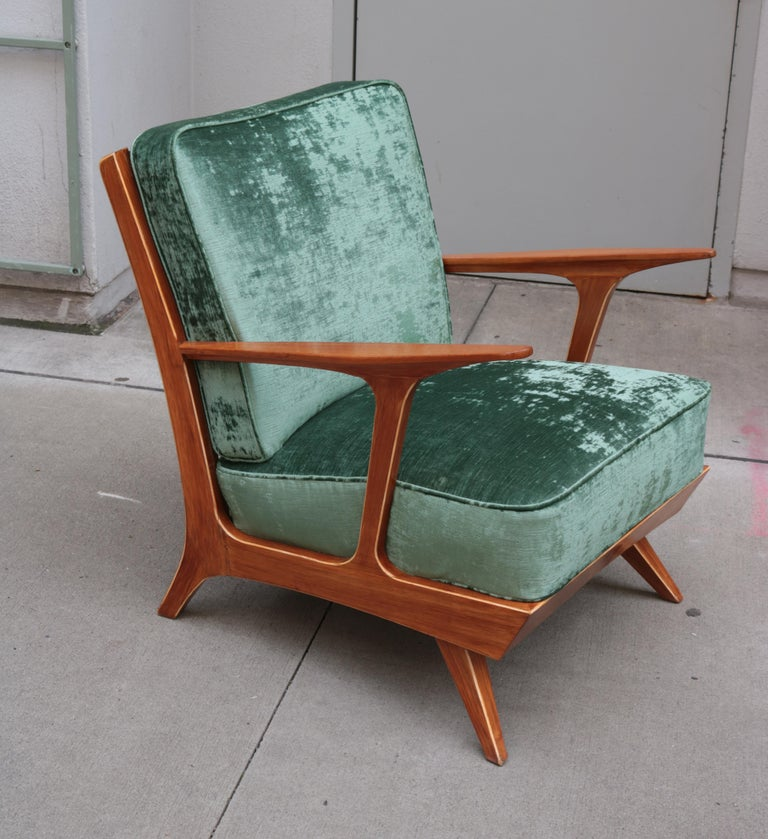 Upholstery Pair of Modern Midcentury Armchairs For Sale
