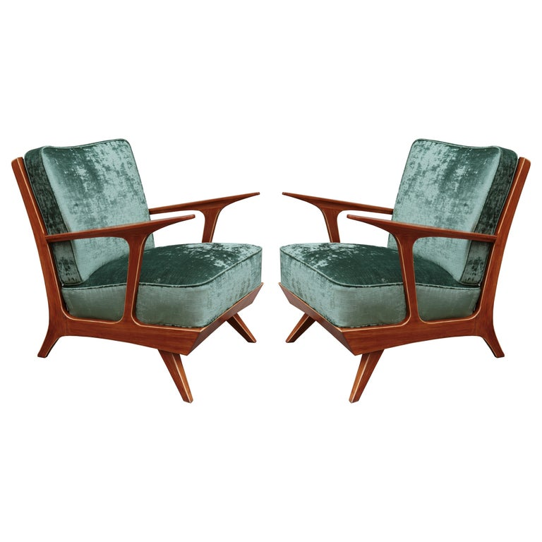 Pair of Modern Midcentury Armchairs For Sale