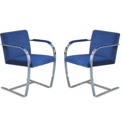 Pair of Modern Mies Van Der Rohe for Brueton Chrome Brno Chairs in Blue Velvet