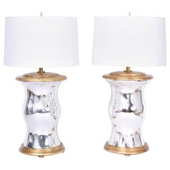 Pair of Modern Mirrored and Gilt Wood Table Lamps