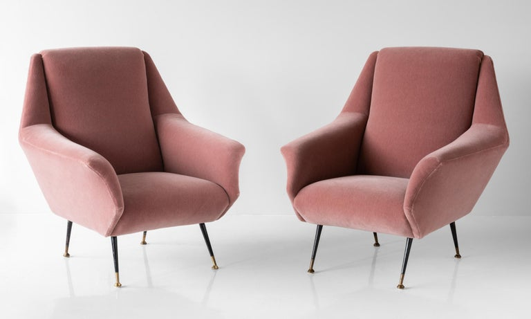 Mid-Century Modern Pair of Modern Mohair Armchairs, Italy, circa 1950 For Sale