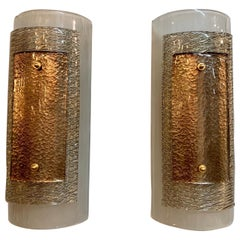 Pair of Modern Multi Layered Murano Glass Wall Sconces