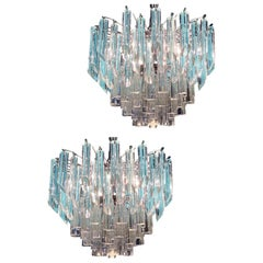 Pair of Modern Multitier Crystal Prism Murano Glass Chandelier, 1970