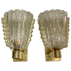 Pair of Modern Murano Glass and Brass Gold Cup Sconces