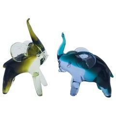 Pair of Modern Murano Glass Elephants by Cenedese, Late 1970s