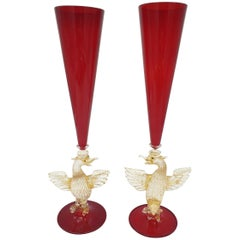 Pair of Modern Murano Glass Red Goblets with Gold Phoenix by Gino Cenedese 1990s