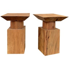 Pair of Modern Neoclassical Carved Wood Tables