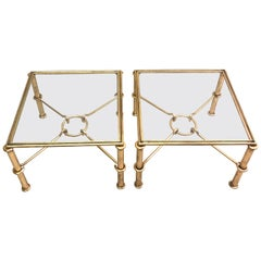 Pair of Modern Neoclassical Gilt Iron Side Tables or Coffee Table for Hermes