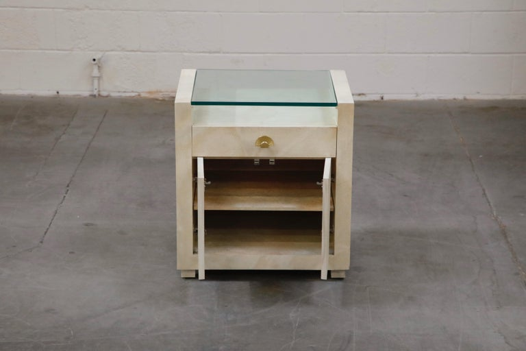 Glass Pair of Modern Nightstands or End Tables with Brass Fan Handles, 1980s For Sale