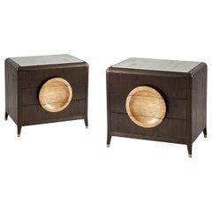Pair of Modern Oak Marble-Top Nightstands