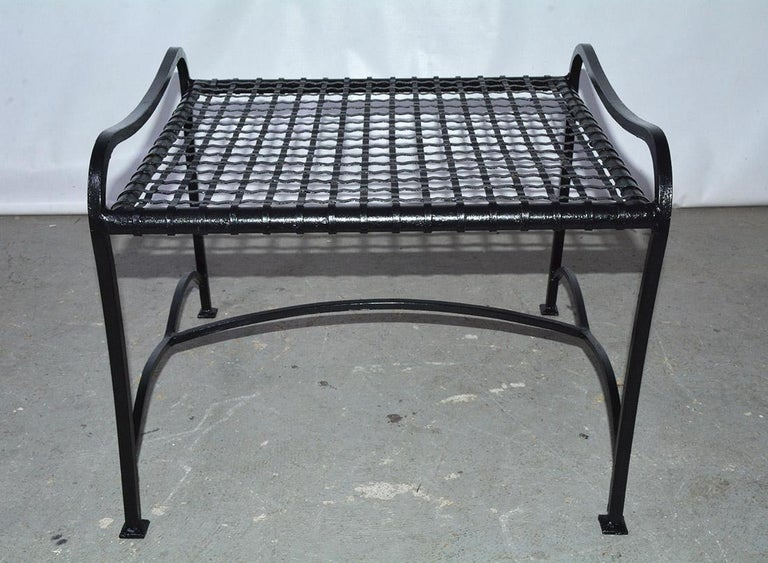 Pair of Modern Outdoor Wire Metal Arm Chairs and Coffee Table For Sale 4