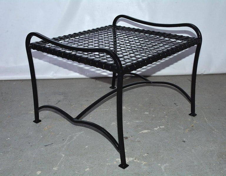 Pair of Modern Outdoor Wire Metal Arm Chairs and Coffee Table For Sale 5