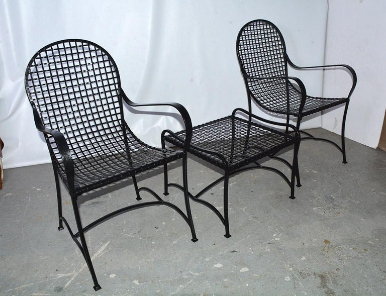 Hollywood Regency Pair of Modern Outdoor Wire Metal Arm Chairs and Coffee Table For Sale