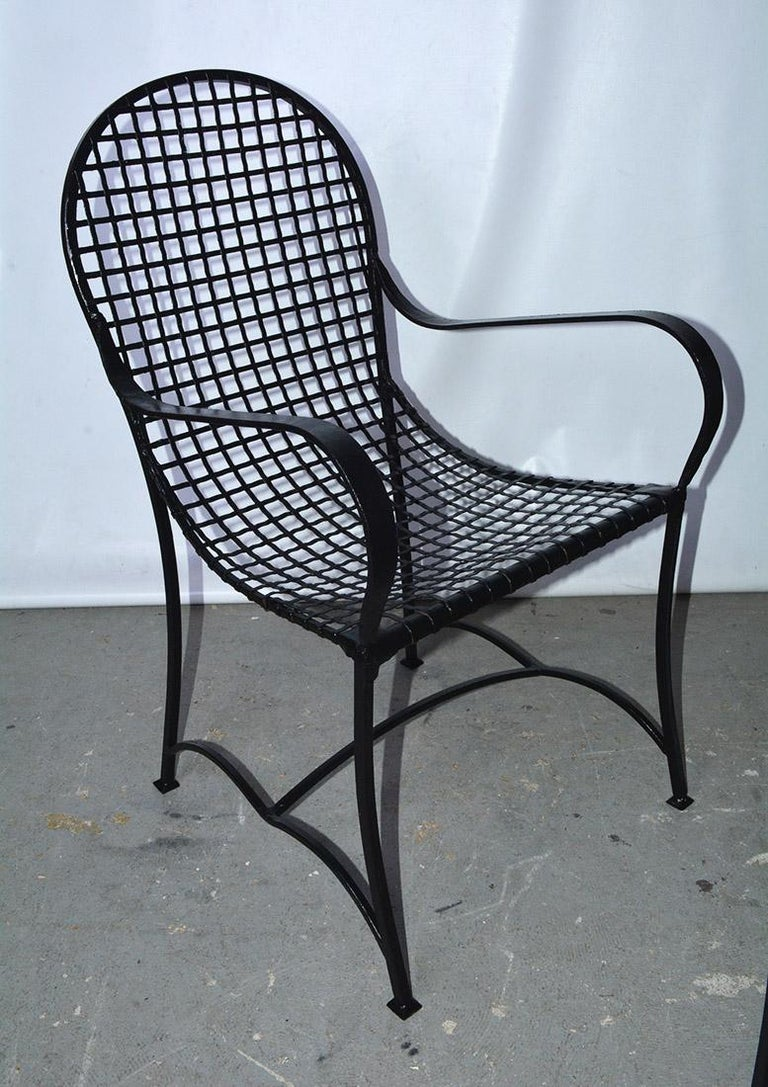 Pair of Modern Outdoor Wire Metal Arm Chairs and Coffee Table In Good Condition For Sale In Great Barrington, MA