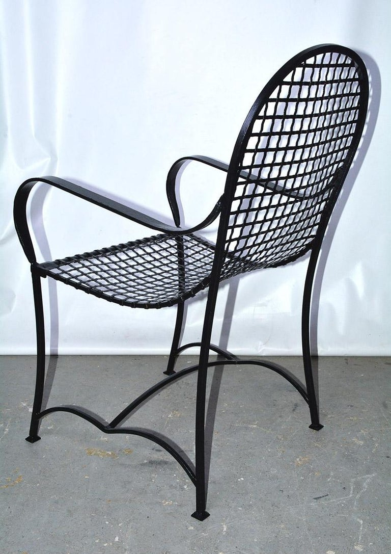 Iron Pair of Modern Outdoor Wire Metal Arm Chairs and Coffee Table For Sale
