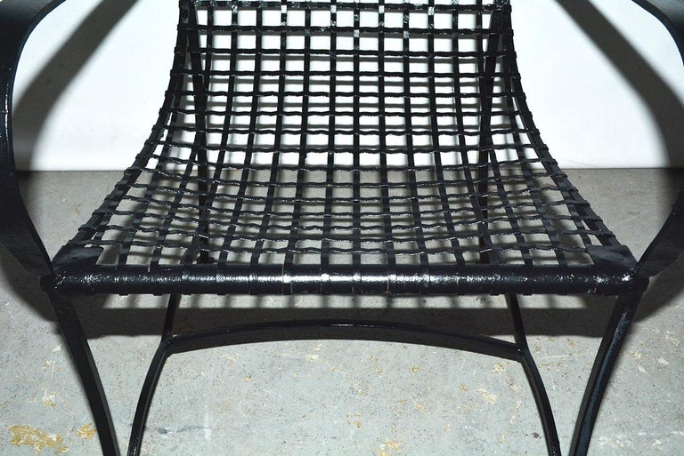 Pair of Modern Outdoor Wire Metal Arm Chairs and Coffee Table For Sale 2