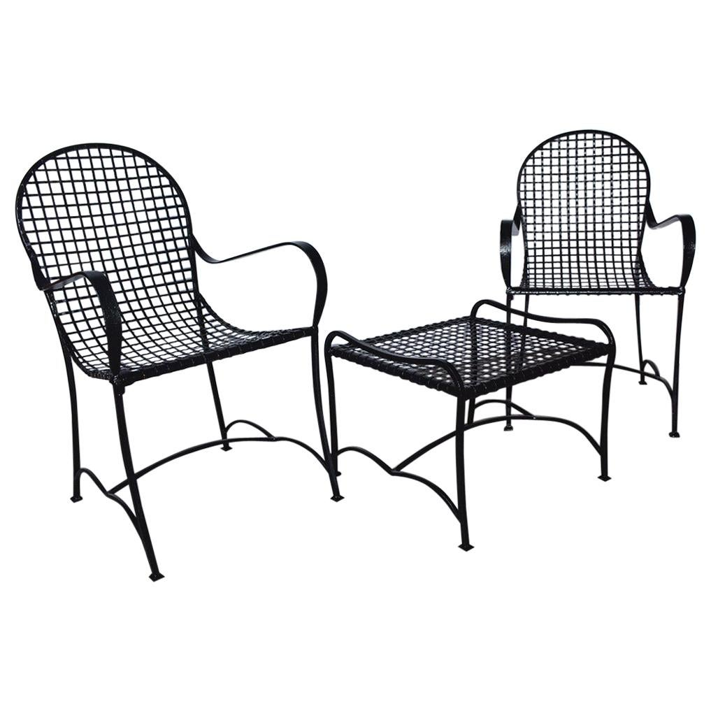 Pair of Modern Outdoor Wire Metal Arm Chairs and Coffee Table