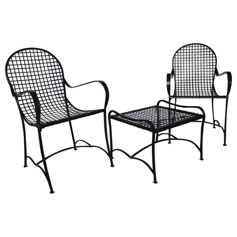 Pair of Modern Outdoor Wire Metal Arm Chairs and Coffee Table For Sale