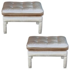 Pair of Modern Parsons Style Pillow Top Stools / Ottoman in Neutral Velvet