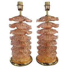 Pair of Modern Pink Murano Glass Layered Ruffle Lamps