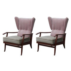 Pair of Modern Pink & Taupe Italian Wingback Reclining Chairs Paolo Buffa Style
