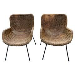 Pair of Modern Rattan Armchairs