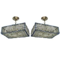 Pair of Modern Rectangular Crystal Fixtures
