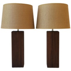 Pair of Modern Rectangular Wood Table Lamps with Vertical Design, ca. 1970s