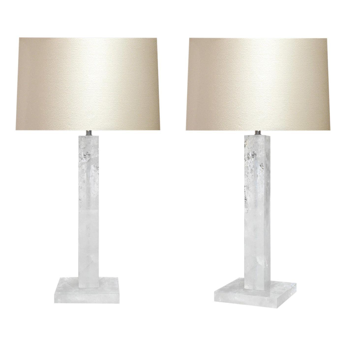Pair of Modern Rock Crystal Quartz Lamps by Phoenix