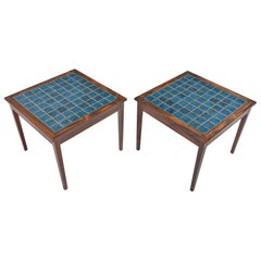 Pair of Modern Rosewood and Blue Tile Side Tables