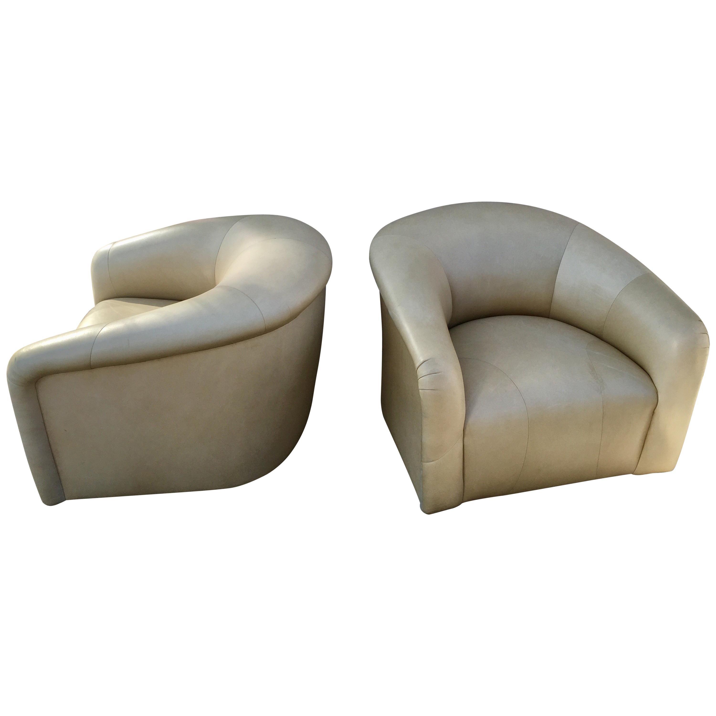Pair Of Modern Sally Sirkin Lewis J Robert Scott Leather Swivel Barrel  Chairs