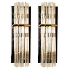 Pair of Modern Sciolari Glass Rod Sconces by Sciolari for Lightolier, 1970