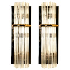 Pair of Modern Sciolari Glass Rod Sconces by Sciolari for Lightolier, 1970