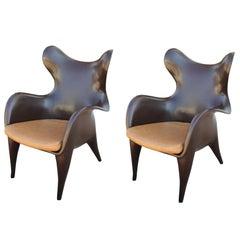 Pair of Modern Sculptural Johnnie Chairs by Jordan Mozer