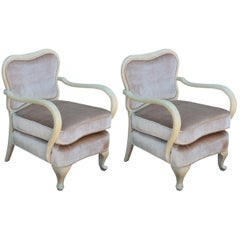 Pair of Modern Sculptural Neutral and Light Velvet Italian Lounge Chairs