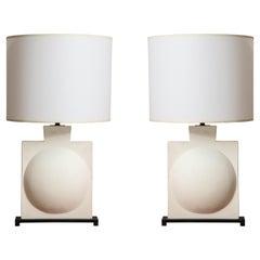 Custom Pair of Modern Sculptural Plaster Lamps