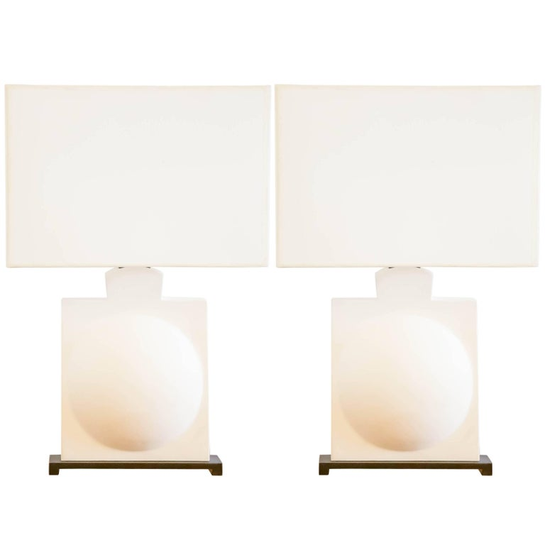 Pair of Modern Sculptural Plaster Lamps For Sale