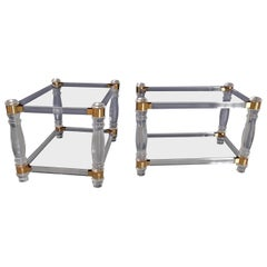 Pair of Modern Side Tables Plexi Glass, Glass and Brass