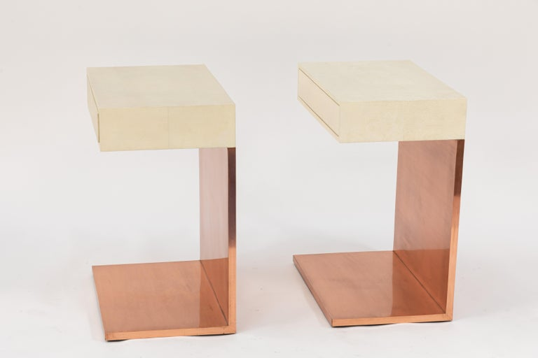 Pair of Modern Side Tables with Shagreen Tops and Copper Finish For Sale 3